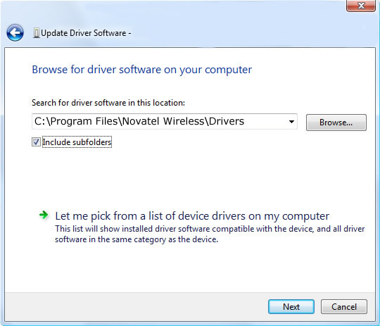 Update driver software screen 2