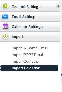 Click Import > Import Calendar