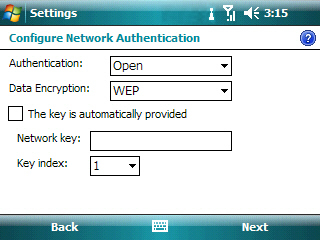 Enter network information