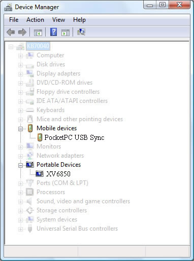 Device Manager with sync device connected